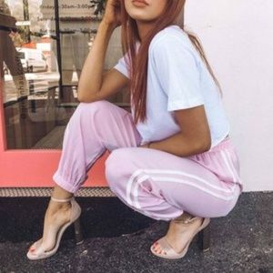 Pink and White Tapered Track Pants